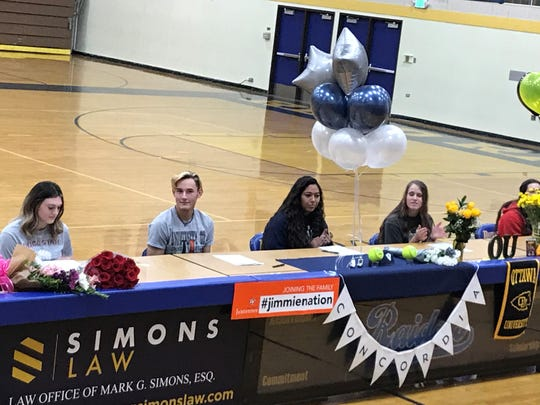 Reed had five seniors sign for college on Wednesday (left to right) Lauryn Osendorf-Chico State (volleyball); Hunter Ehlers- Jamestown (men's soccer); Hilana Ely-Concordia (softball); Jillian Kygar-Ottawa (softball); Cailyn Leone-Southern Oregon (softball).