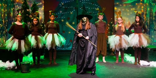 Brooke Allison, as the Grouchy Grumble of the West, commands her reindeer to capture Dorothy and her friends.