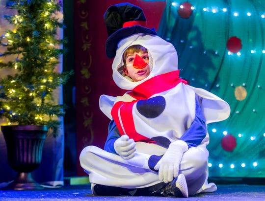 Colby Rowe, as the Snowman, asks for feet so he can stand and walk.