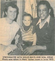 John Strohmayer with Willie Mays and son, Steve Strohmayer in June 1973 inside the New York Mets' locker room.