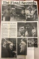 A Record Searchlight page from Saturday, Feb. 27, 1988 showing images from a basketball game between Central Valley and Enterprise. John Strohmayer is on the left in the center photo on the page. The Falcons won in overtime.