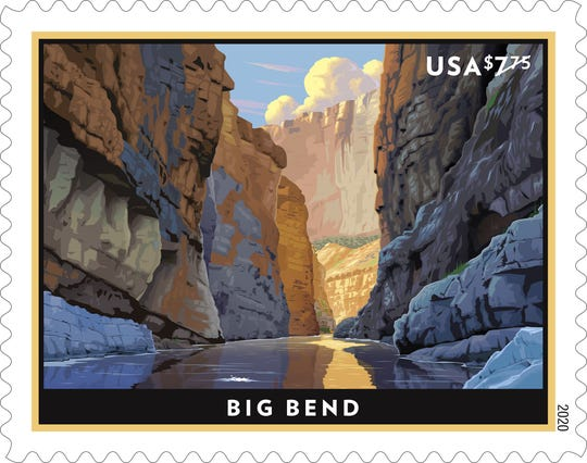 A new Priority Mail stamp depicts the Rio Grande flowing between the sheer limestone cliffs of Santa Elena Canyon in Big Bend National Park