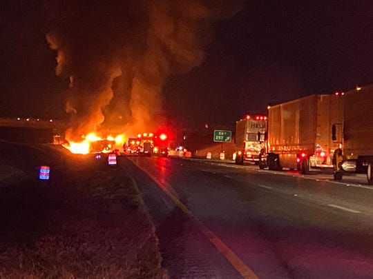 Interstate 81 in Rockingham County was the scene of a fiery crash early Thursday morning.