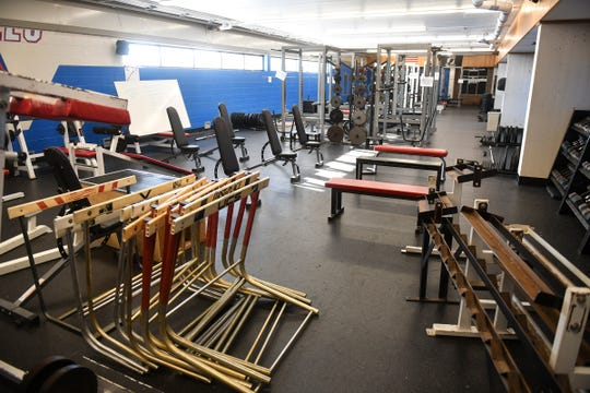 Equipment fills the weight room at Apollo High School Wednesday, Dec. 11, 2019, in St. Cloud.