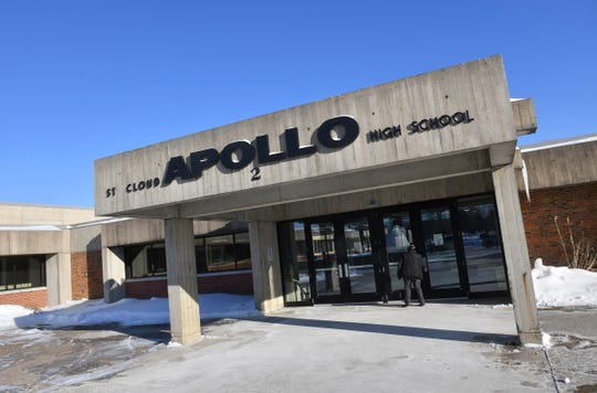 The entrance to Apollo High School Wednesday, Dec. 11, 2019, in St. Cloud. School board members have agreed to move ahead with a possible referendum for renovations and repairs to the school.