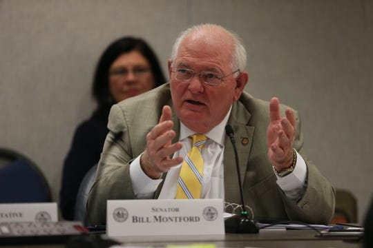 Democratic state Sen. Bill Montford of Tallahassee asks a question at a legislative committee meeting Thursday, Dec. 12, 2019.