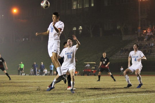 Maclay senior center back Alex Guzman heads a ball away on a cross as Maclay pulled out a 1-0 road victory over Leon on Dec. 10, 2019.