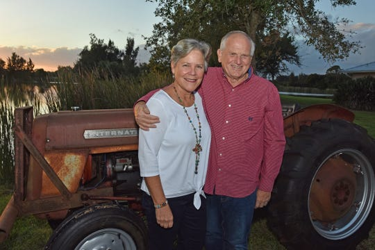 Virginia and Paul Friesen enjoy the farm atmosphere at the Fall Harvest Dinner at Schacht Groves in Indian River County.