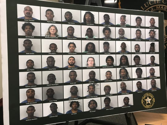 At a December 12, 2019 press conference at the St. Lucie County Sheriff's office, deputies showed the 54 people who were arrested locally because of a task force that assembled after a 21-year-old was shot and killed because of gang-related gun violence.