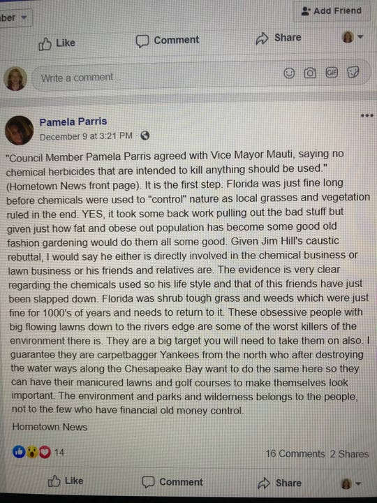 This is a photo of the Dec. 9 post on Pamela Parris's Facebook page. Parris denies writing the post.