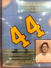 Miller Aupui's No. 44 hangs at Channel Islands High School.