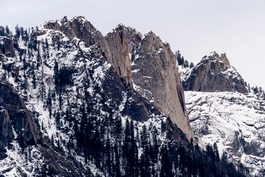 Snow capped Castle Rocks in Sequoia National Park on Wednesday, December 11, 2019.