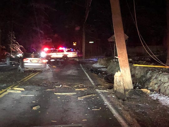 A crash into a utility pole closed New Hempstead Road in New Hempstead and knocked out power throughout the area on Dec. 12, 2019.