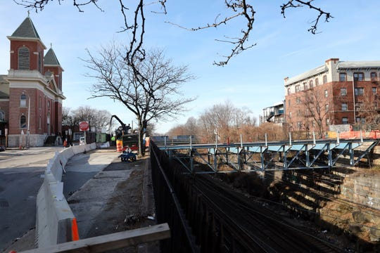 Construction at the 10th Avenue bridge in Mount Vernon which will display art as part of an MTA project Dec. 12, 2019.