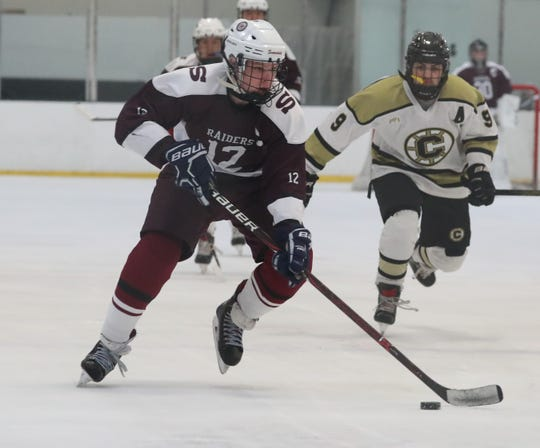 Scarsdale's Josh Bock moves the puck up ice during  the Raiders' win Dec. 11, 2019 over Clarkstown.