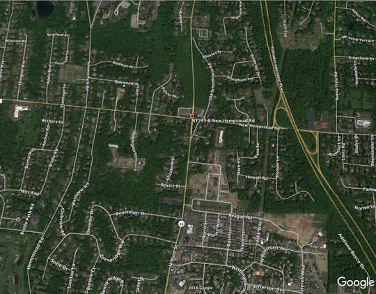 New Hempstead Road is closed between Route 45 and Oakwood Terrace.