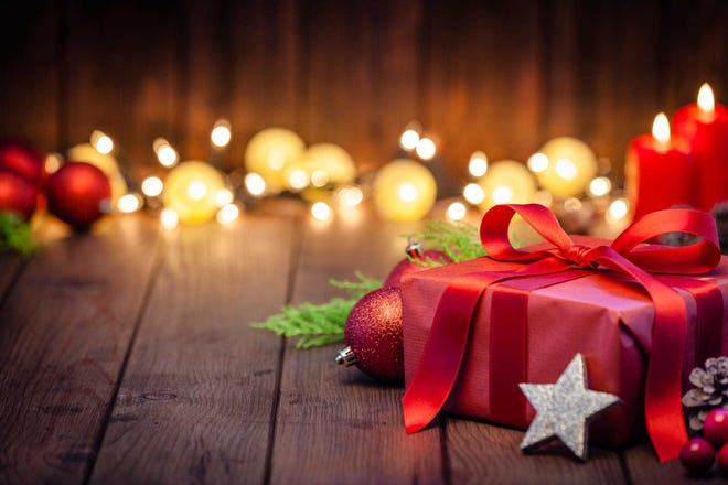 Red Christmas gift box with Christmas decoration