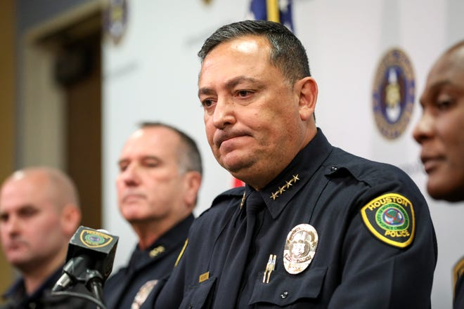 In this file hoto, Houston Police Chief Art Acevedo speaks during a press conference at HPD headquarters on Wednesday, Nov. 20, 2019, in Houston.