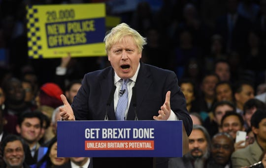 Conservative leader and British Prime Minister, Boris Johnson delivers a speech to supporters during the final day of the election campaign in London, Britain 11 December 2019. Britons will go to the polls on 12 December 2019.