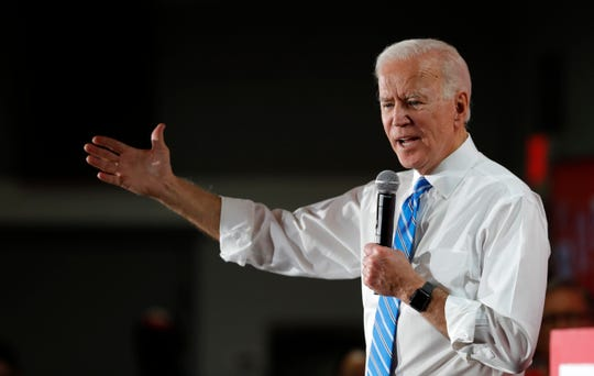 Democratic presidential candidate and former Vice President Joe Biden responds to a question during town hall meeting at the Culinary Union, Local 226, headquarters in Las Vegas Wednesday, Dec. 11, 2019.  (Steve Marcus/Las Vegas Sun via AP) ORG XMIT: NVLVS104