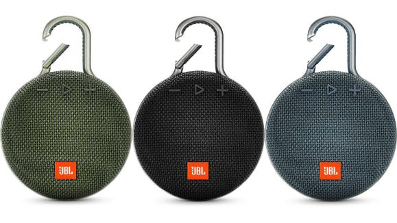 Clip this speaker to your backpack for tunes during your next hike.