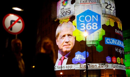 The BBC's exit poll results are seen projected on the outside of a BBC building in London, on Dec. 12, 2019.
