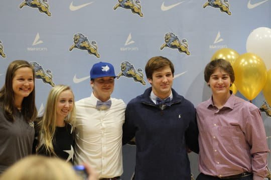 Five Daniel High student-athletes were honored at the fall signing day ceremony. (Left to right): Mari Cagle Lockhart (cross country), Adrienne O'Brien (golf), Hovey Herd (baseball), Tyler Venables (football), Jordan Spearman (baseball).