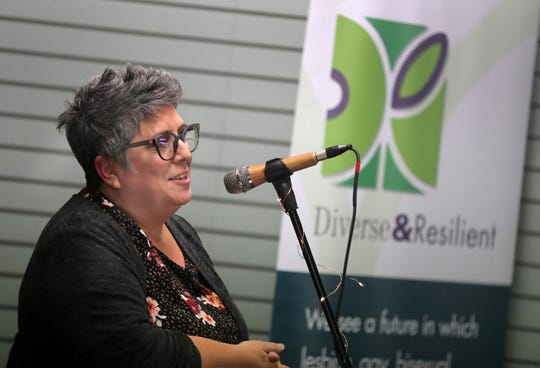 Kathy Flores speaks during an open house at the new Diverse and Resilient facility on Thursday in Appleton. Diverse and Resilient's mission is to achieve health equity and improve the safety and well-being of LGBTQ people and communities in Wisconsin.