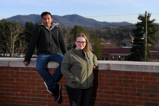 Victor Ramirez, 17, a senior at SILSA, and Iris Barkett, 16, an Asheville High junior, are active in the Peer-2-Peer Depression Awareness program and are pushing the school to provide more access to mental health services and professionals but feel they are not being heard by school officials. Photographed Dec. 12, 2019.