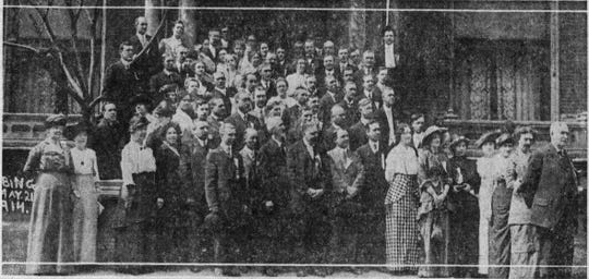 A 1914 meeting of the Grand Circle of the Protected Home Circle in Binghamton showing full length skirts.