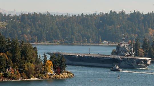 2018 FILE ARTThe USS John C. Stennis moves through Rich Passage after leaving departs Naval Base Kitsap-Bremerton on Monday, October 15, 2018.
