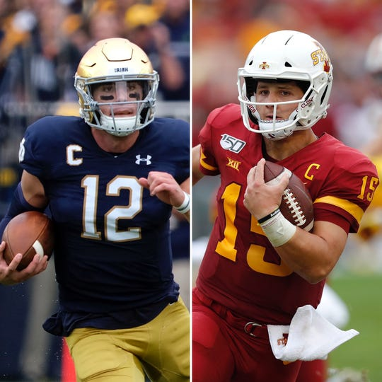Notre Dame's Ian Book, left, goes up against Iowa State's Brock Purdy in a battle of high-profile quarterbacks.