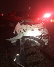 Titusville police and firefighters investigated a Thursday crash involving a train and a white Kia Rio.