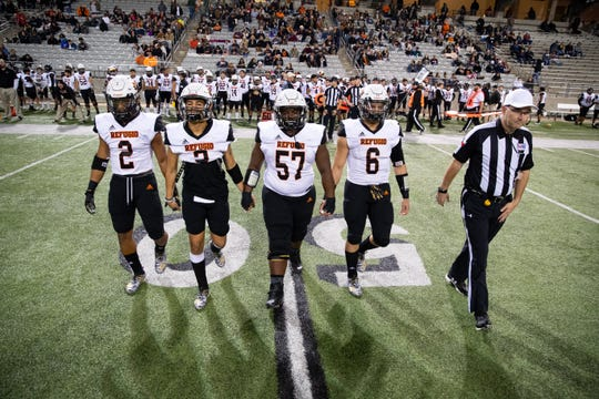 Refugio takes the field at Cy-Fair FCU Stadium in Cypress for the 2A Division I state semifinal against San Augustine on Thursday, Dec. 12, 2019.