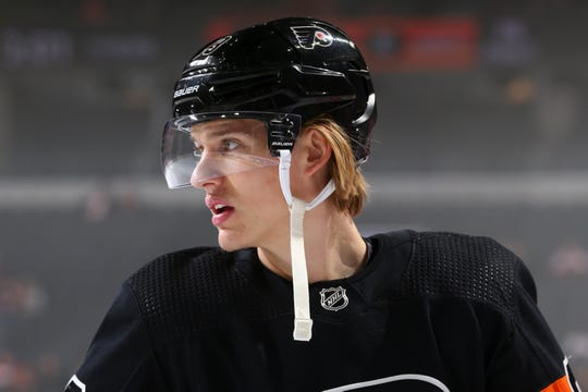 Oskar Lindblom, 23, has been a fixture on the Flyers' best line this season. The team does not expect him to return this season.