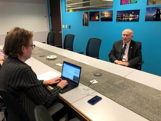 U.S. Rep. Steve Chabot speaks with reporter Scott Wartman of The Cincinnati Enquirer Friday, December 13, 2019.