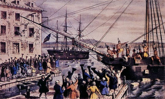 "An 1846 lithograph by Nathaniel Currier, entitled ""The Destruction of Tea at Boston Harbor,"" depicts the Boston Tea Party protest on December 16, 1773."