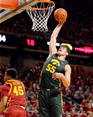 Iowa's 6-11 junior center, Luka Garza had a tremendous showing, as he lead his team to a double-digit victory over Iowa State.   (Photo: Zach Boyden-Holmes/The Register via Des Moines Register.)