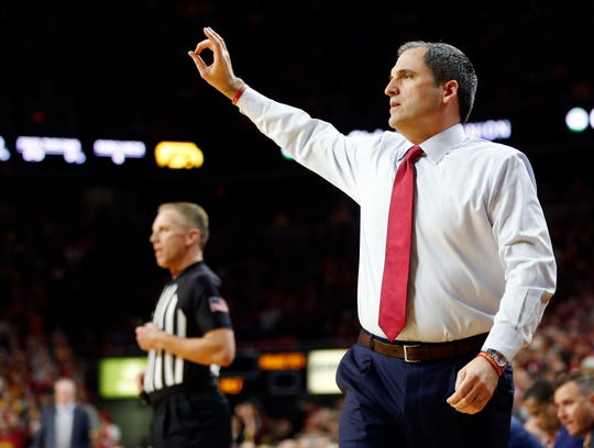 Iowa State Head Coach Steve Prohm coaches as the Hawkeyes take on the Cyclones at Hilton Coliseum in 