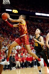 Iowa State guard Tyrese Haliburton puts up a shot as the Hawkeyes take on the Cyclones at Hilton Coliseum in Ames Thursday, Dec. 12, 2019.