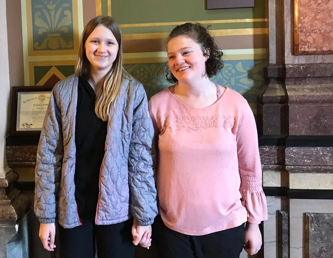 Mehl Wright (left) was awarded by the governor after saving her best friend, Ruby Donaldson (right), from drowning. Photographed on Dec. 10, 2019.