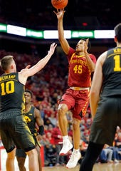 Iowa State guard Rasir Bolton puts up a shot as the Hawkeyes take on the Cyclones at Hilton Coliseum in Ames Thursday, Dec. 12, 2019.