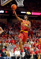 Iowa State guard Terrence Lewis puts up a shot as the Hawkeyes take on the Cyclones at Hilton Coliseum in Ames Thursday, Dec. 12, 2019.