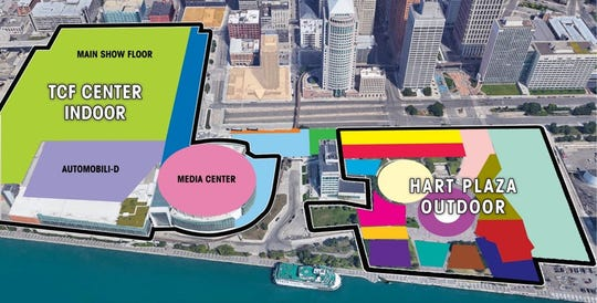 Map of the expected layout of the NAIAS Charity Preview.