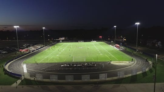 The athletic field at the University of Detroit Mercy is lit. Adding lights was a project that was part of its recent fundraising campaign.