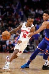 Pistons' Jordan Bone drives against Knicks guard Allonzo Trier on Nov. 6.