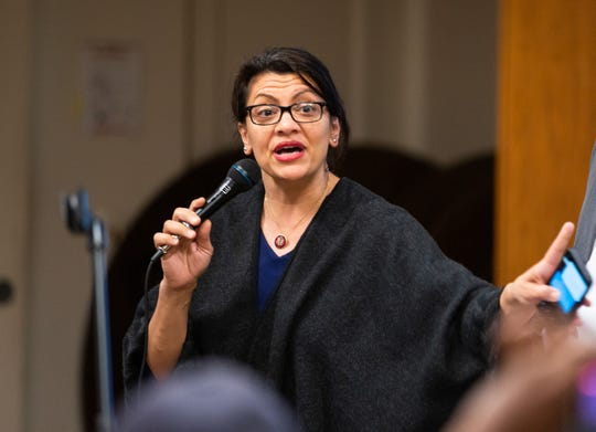 Rep. Rashida Tlaib speaks to residents impacted by the recent dock collapse into the Detroit River at a site formerly utilized for uranium development.  The event took place at the Cass Common Corridors, Thursday, Dec. 12, 2019.