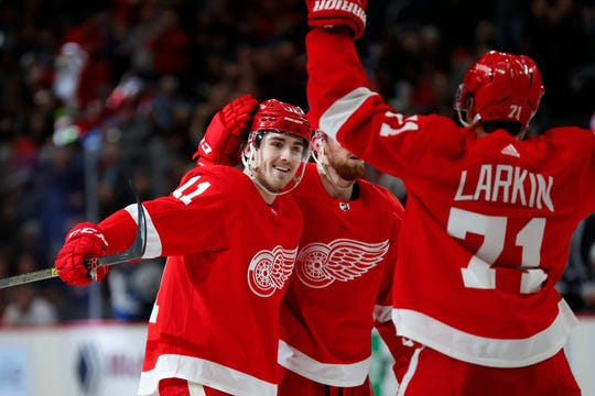 Detroit Red Wings right wing Filip Zadina (11) celebrates his goal in the second period against the Winnipeg Jets, Thursday, Dec. 12, 2019, in Detroit.