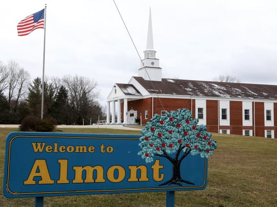 """One of the two """"Welcome to Almont"""" signs at the edge of town on Tuesday, December 7, 2019"""