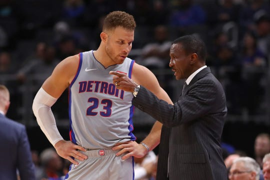 Dwane Casey talks to Blake Griffin while playing Orlando at Little Caesars Arena on Nov. 25, 2019.